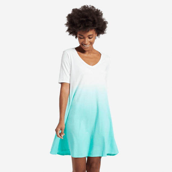 Women's Cool Aqua Dip Dye Swing Dress