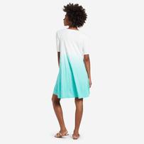 Women's Cool Aqua Dip Dye Swing Dress