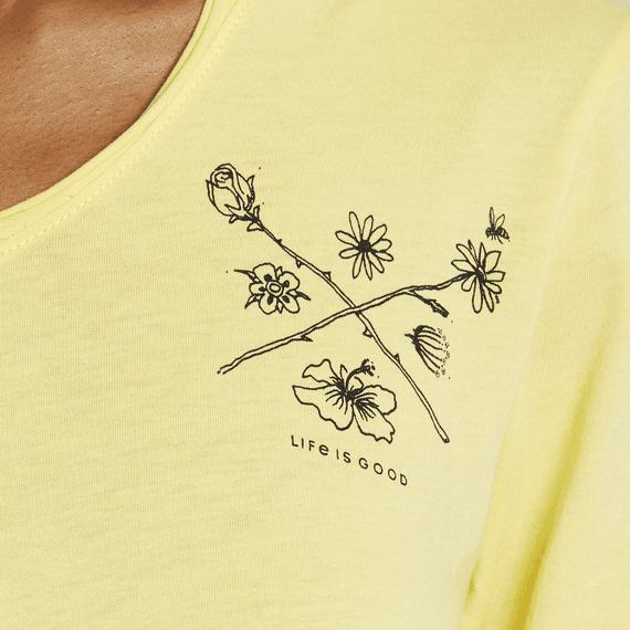Women's Crossed Wild Flower Long Sleeve Hooded Smooth Tee