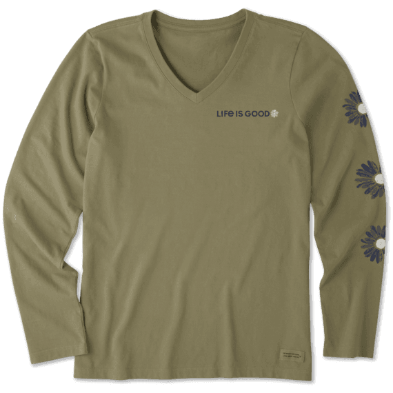 Women's Daisies Long Sleeve Crusher Vee