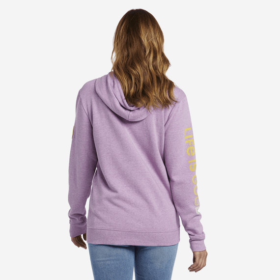 Women's Daisy Embroidery Simply True Zip Hoodie