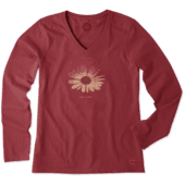 Women's Daisy Hearts Long Sleeve Crusher Vee