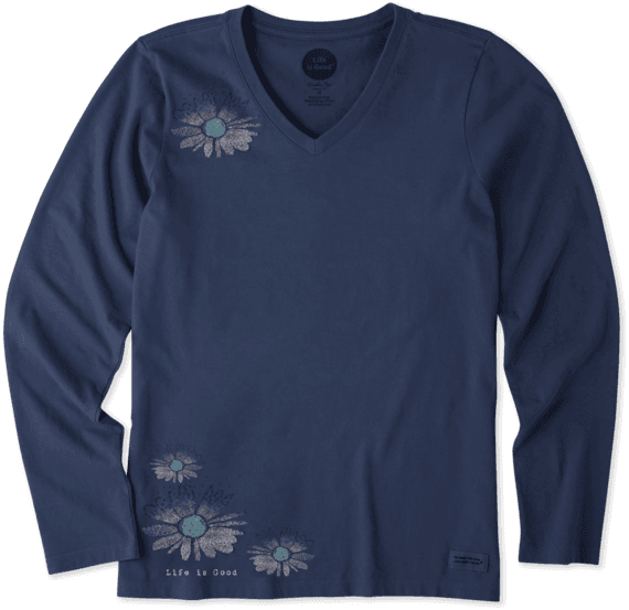 Women's Daisy Love Surprise Long Sleeve Crusher Vee