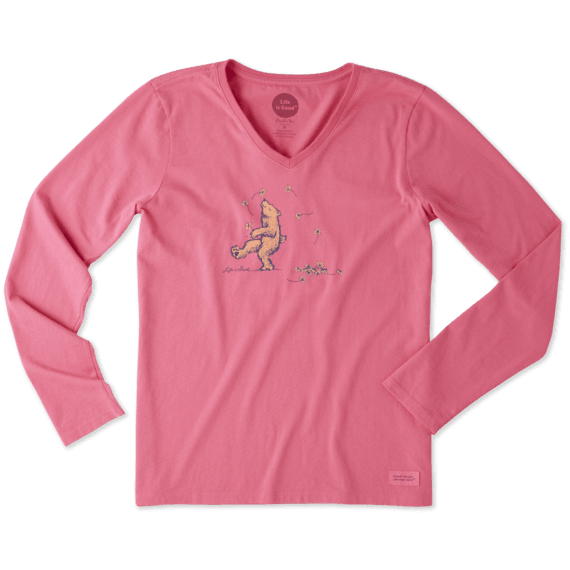 Women's Dancing Bear Long Sleeve Crusher Vee
