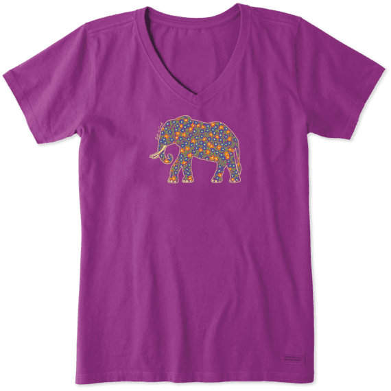 Women's Ditsy Elephant Crusher Vee