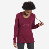 Women's DWYL Hand Script Hooded Long Sleeve Smooth Tee