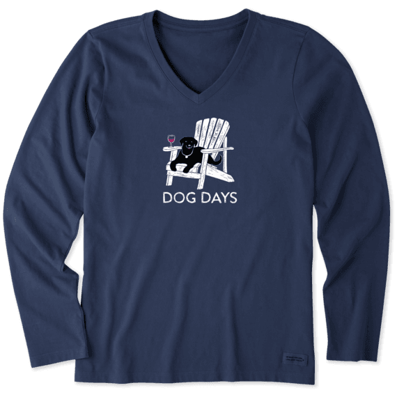 Women's Dog Days Wine Long Sleeve Crusher Vee