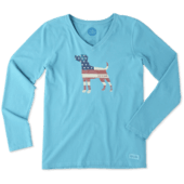 Women's Dog Flag Long Sleeve Crusher Vee