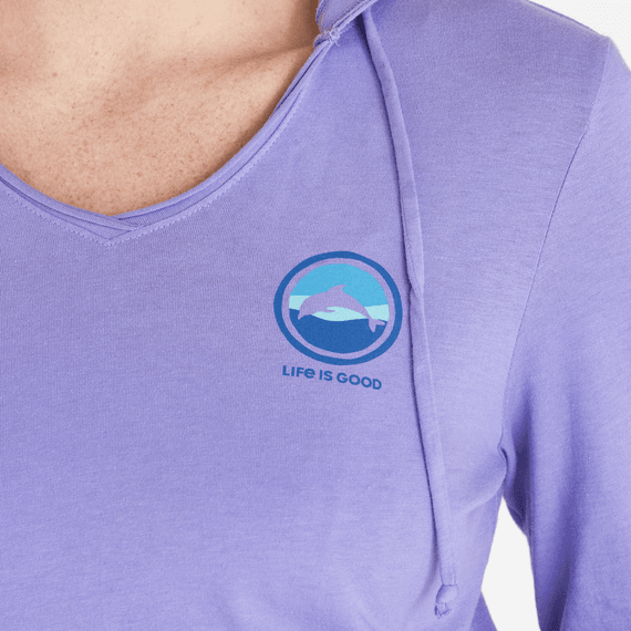 Women's Dolphin Coin Long Sleeve Hooded Smooth Tee