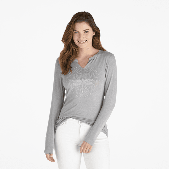Women's Dragonfly Calling Long Sleeve Favorite Split Neck Tee