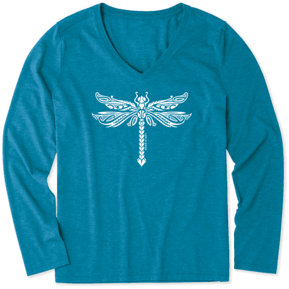 Women's Dragonfly Tattoo Long Sleeve Cool Vee