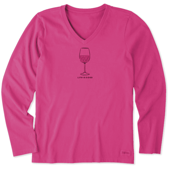 Women's Earthy Wine Long Sleeve Crusher Vee
