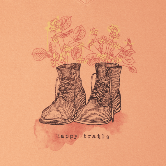 Women's Engraved Happy Trails Boots Crusher Vee