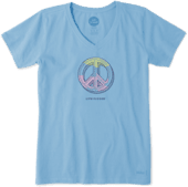 Women's Engraved Peace Sign Crusher Vee