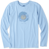 Women's Engraved Sunflower Long Sleeve Crusher Tee