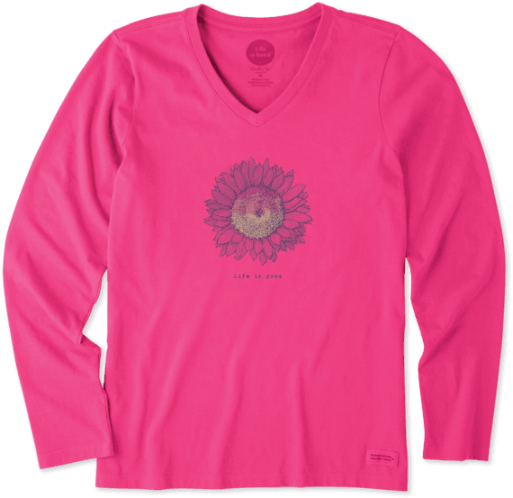 Women's Engraved Sunflower Long Sleeve Crusher Vee