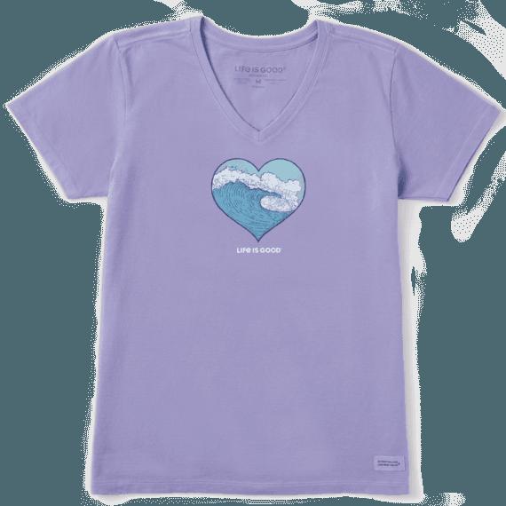 Women's Engraved Wave Heart Crusher Vee