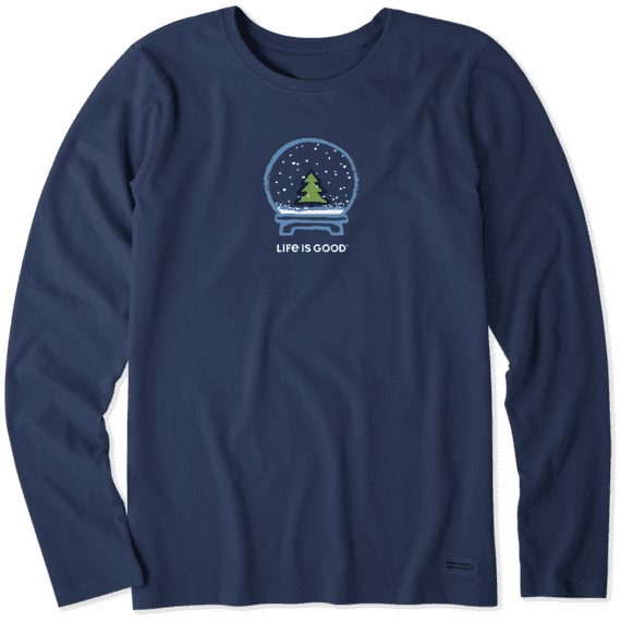 Women's Evergreen Snow Globe Long Sleeve Crusher Tee