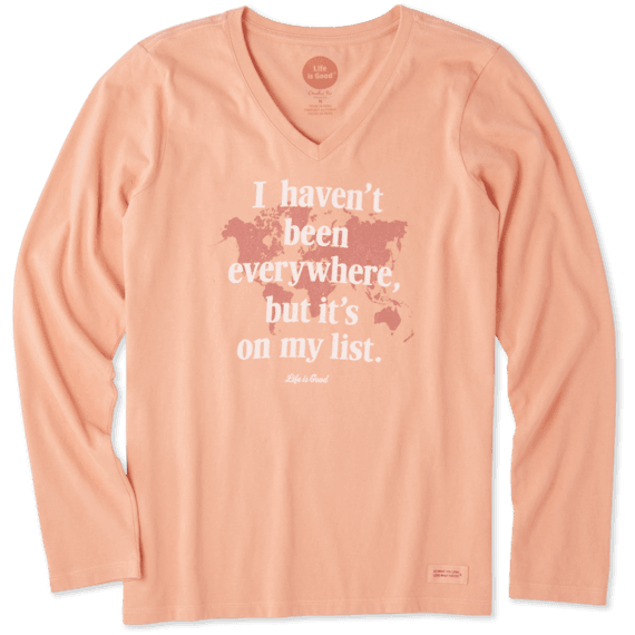 Women's Everywhere Is On My List Long Sleeve Crusher Vee