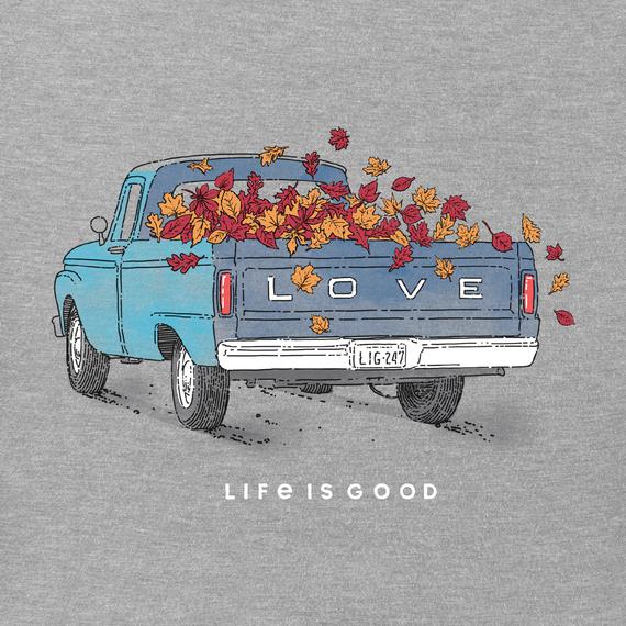 Women's Fall Love Truck Long Sleeve Crusher Vee