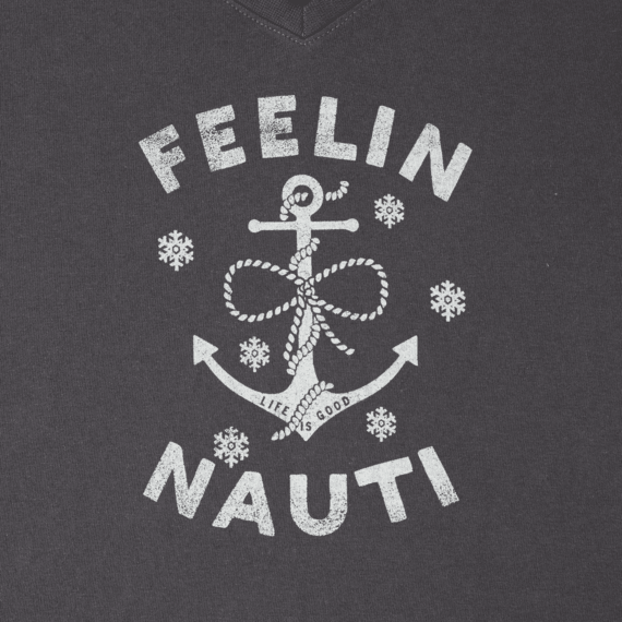 Women's Feelin' Nauti Anchor Long Sleeve Crusher Vee