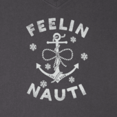 Women's Feelin' Nauti Anchor Long Sleeve Crusher Vee