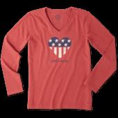 Women's Flag Heart Long Sleeve Crusher Vee