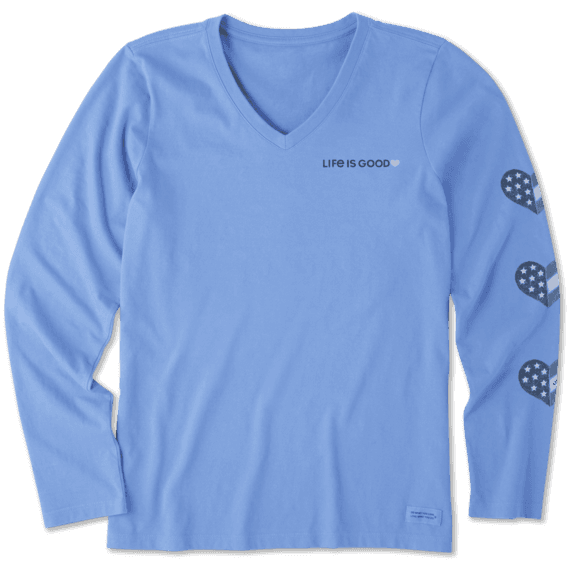 Women's Flag Heart Long Sleeve Crusher Vee