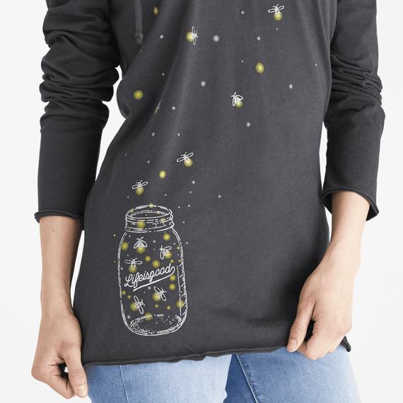 Women's Floating Fireflies Jar Long Sleeve Hooded Smooth Tee