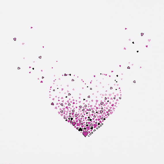 Women's Floating Heart Of Hearts Crusher Vee