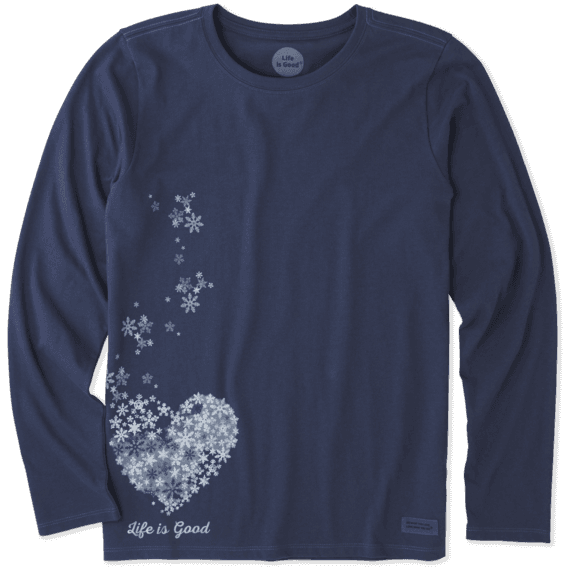 Women's Floating Hearts Long Sleeve Crusher Tee