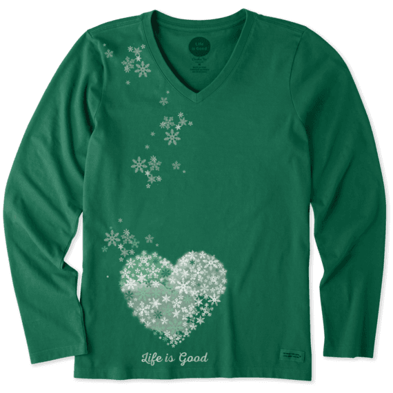 Women's Floating Hearts Long Sleeve Crusher Vee
