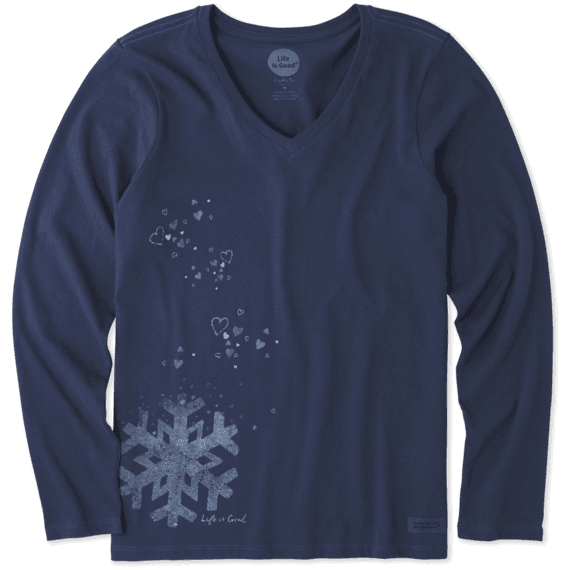 Women's Floating Snowflake Long Sleeve Crusher Vee