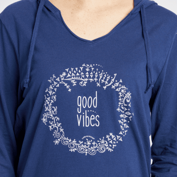 Women's Floral Good Vibes Long Sleeve Hooded Smooth Tee