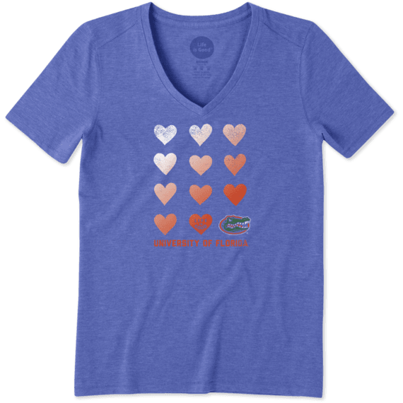 Women's Florida Gators Heart Stack Cool Vee
