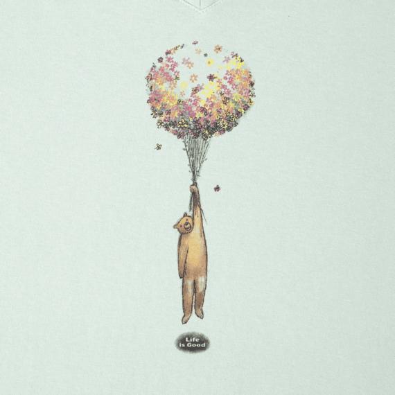Women's Flower Balloon Bear Long Sleeve Crusher Vee
