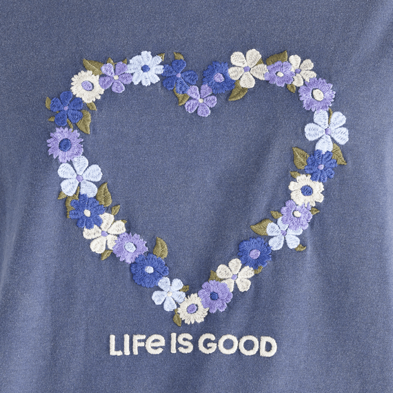 Women's Flower Heart Long Sleeve Ex-Boyfriend Crusher Tee