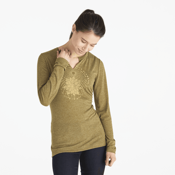 Women's Flower Rain Long Sleeve Favorite Split Neck Tee