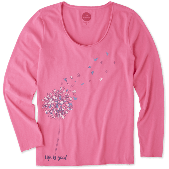 Women's Free Spirit Flower Long Sleeve Smooth Tee