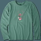 Women's Funky Reindeer Long Sleeve Crusher Tee