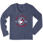 Women's Gonzaga Face Paint Jake Long Sleeve Cool Vee