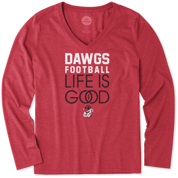 Women's Georgia Infinity Football Long Sleeve Cool Vee