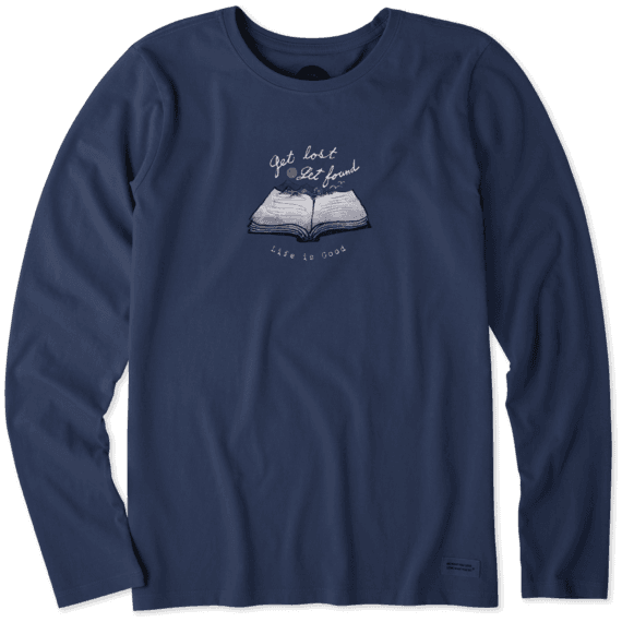 Women's Get Lost Get Found Book Long Sleeve Crusher Tee