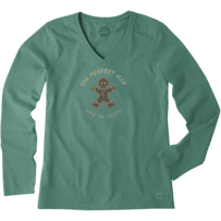 Women's Gingerbread Man Long Sleeve Crusher Vee