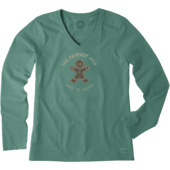 Women's Gingerbread Man Long Sleeve Crusher Vee