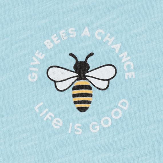 Women's Give Bees a Chance Long Sleeve Textured Slub Tee