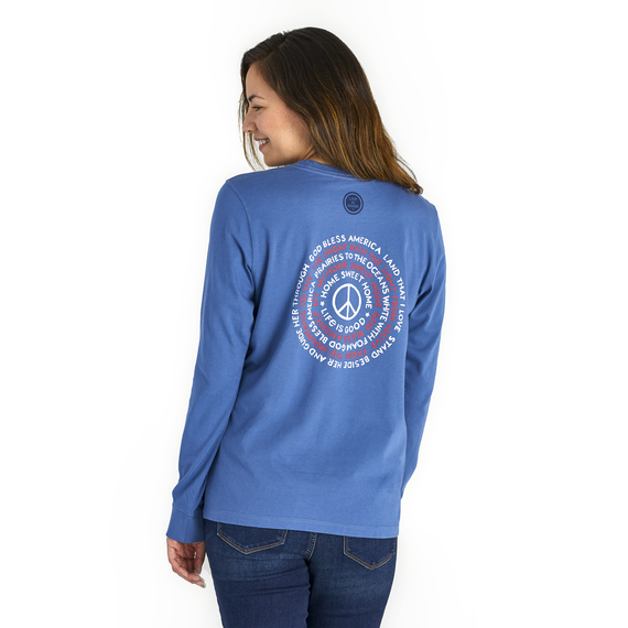 Women's God Bless America Message Crusher Long Sleeve