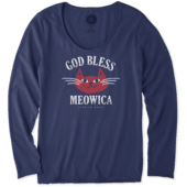 Women's God Bless Meowica Long Sleeve Smooth Tee