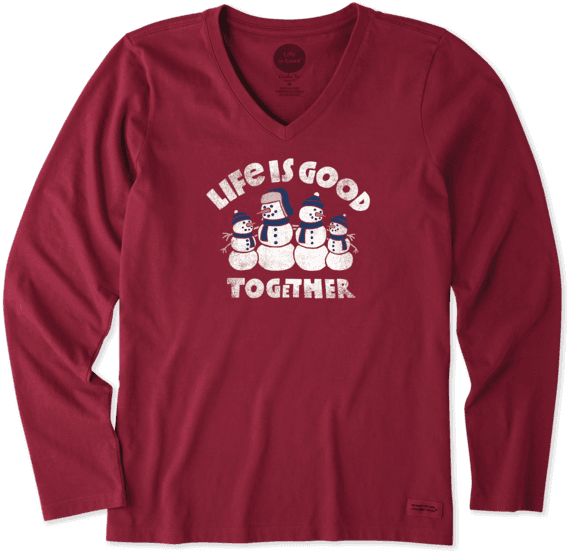 Women's Good Together Snowman Long Sleeve Crusher Vee