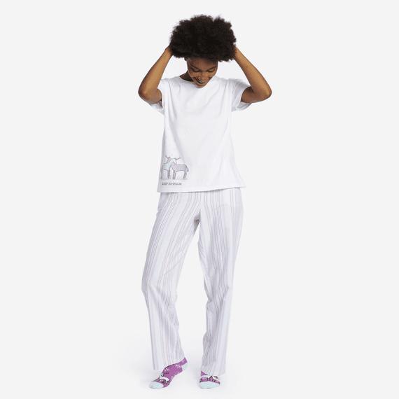Women's Grape Bermuda Stripe Classic Sleep Pant